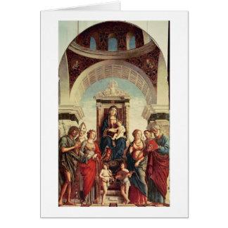 Madonna et enfant avec des saints carte de vœux