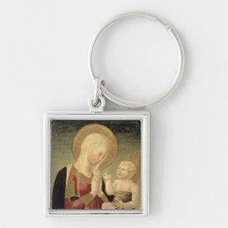 Madonna et enfant avec la grenade porte-clé carré argenté
