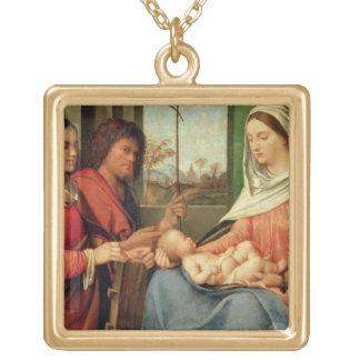 Madonna et enfant avec les saints 2 collier plaqué or