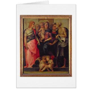 Madonna et enfant avec les saints, c.1518 (huile carte de vœux