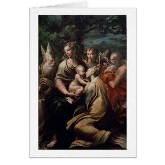 Madonna et enfant avec les saints, c.1529 (huile carte de vœux