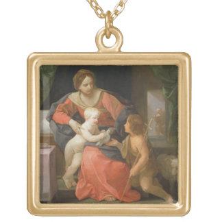 Madonna et enfant avec St John le baptiste Pendentif Carré