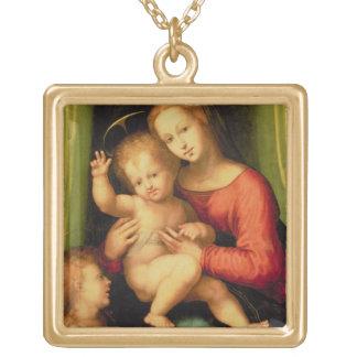 Madonna et enfant avec St John Pendentif Carré