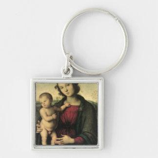 Madonna et enfant, c.1495 porte-clé carré argenté