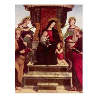 Madonna et enfant couronnés avec des saints par cartes postales