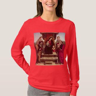 Madonna et enfant couronnés avec des saints par t-shirt