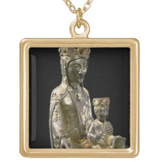 Madonna et enfant couronnés, statuette, Français,  Collier Plaqué Or
