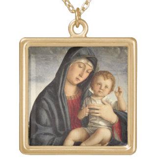 Madonna et enfant (huile sur le panneau) 2 pendentif carré