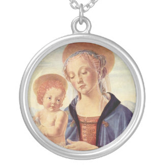 Madonna et enfant pendentif rond