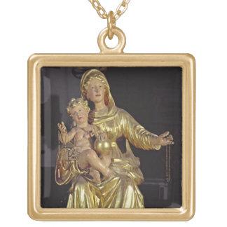 Madonna et enfant, XVIIème siècle (bois doré) Pendentif Carré