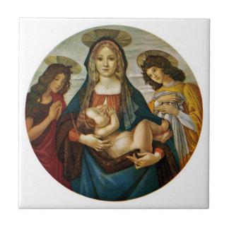Madonna et l'enfant de Botticelli Petit Carreau Carré
