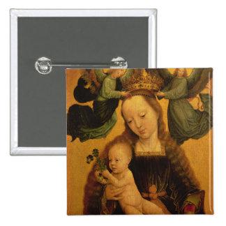 Madonna et l'enfant ont couronné par deux anges, c badge