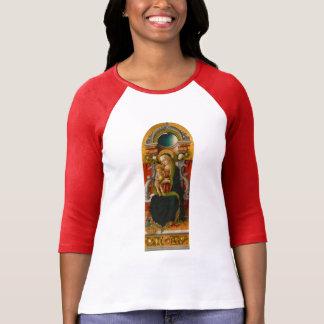 Madonna et T-shirt de raglan de femmes couronné