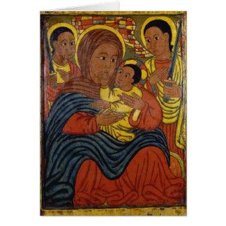 Madonna noir éthiopien avec la carte de Noël de