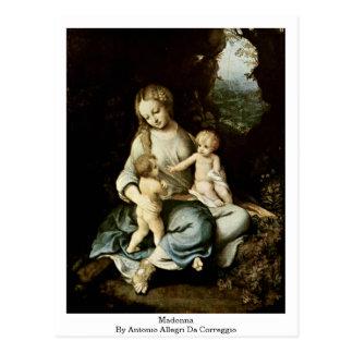 Madonna par Antonio Allegri DA Correggio Cartes Postales