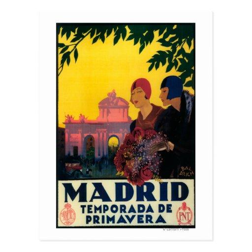 Madrid en affiche promotionnelle de voyage de cartes postales
