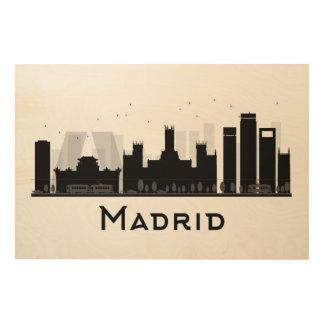 Madrid, Espagne horizon noir et blanc de | de Impressions Sur Bois