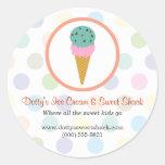 Magasin de crème glacée adhésifs ronds