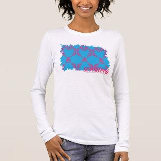 Magenta-Aqua 4 de damassé T-shirt À Manches Longues