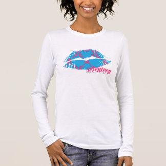 Magenta-Aqua de damassé T-shirt À Manches Longues