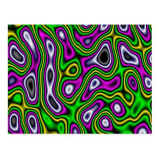 Magenta de vert jaune de labyrinthe de fractale carte postale