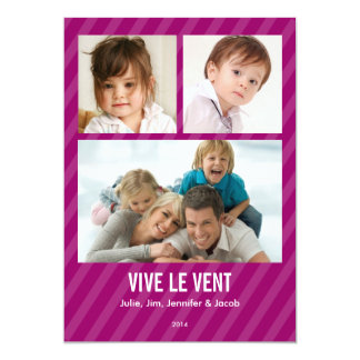 Magenta Triple carte de photo de vacances Carton D'invitation 12,7 Cm X 17,78 Cm