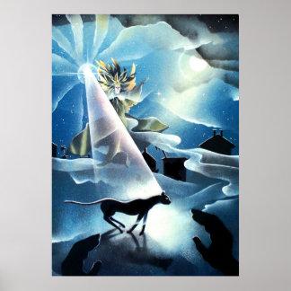 magicien, chat noir, lumière de guidage, inspirée affiche