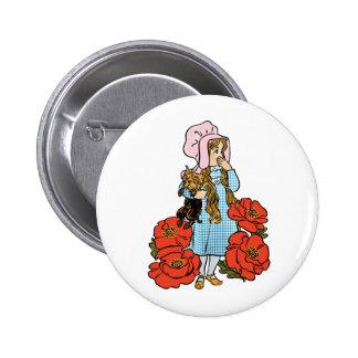 Magicien d'Oz vintage, Dorothy, fleurs rouges de Badge Rond 5 Cm