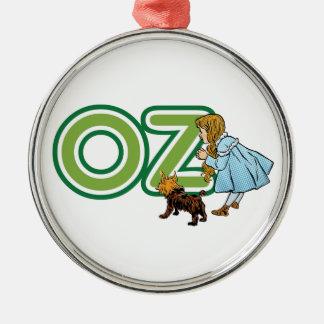 Magicien d'Oz vintage Dorothy Toto avec de GRANDES Ornement Rond Argenté