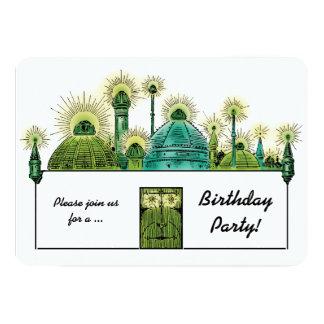 Magicien d'Oz vintage, fête d'anniversaire verte Carton D'invitation 12,7 Cm X 17,78 Cm