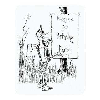 Magicien d'Oz vintage. Tinman et anniversaire de Carton D'invitation 10,79 Cm X 13,97 Cm