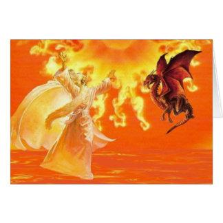 Magicien et dragon carte de vœux