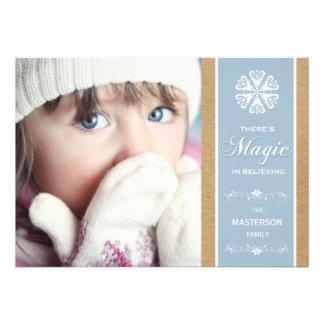 Magie bleue dans la carte plate de croyance de pho invitations