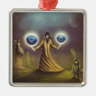 magie d'imaginaire de magicien ornement carré argenté