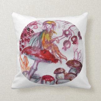 MAGIE FOLLET d'imaginaire floral blanc rouge de Oreiller