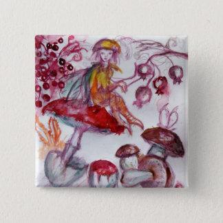 MAGIE FOLLET d'imaginaire floral blanc rouge de Pin's