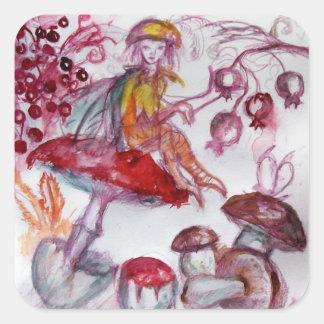 MAGIE FOLLET d'imaginaire floral blanc rouge de Sticker Carré