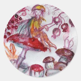 MAGIE FOLLET d'imaginaire floral blanc rouge de Sticker Rond