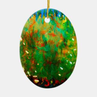 Magie sous-marine d'abrégé sur éclatant corail ornement ovale en céramique