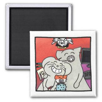"""Magnet carré """"Portrait de famille Ragnagna"""""""