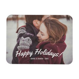 Magnet de photo de vacances - bonnes fêtes texte