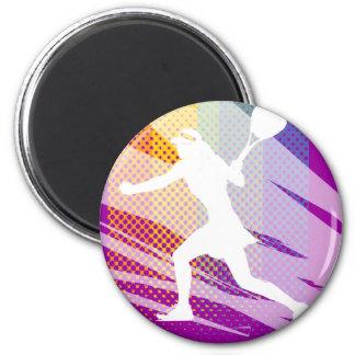 Magnet de tennis avec la copie femelle de joueur