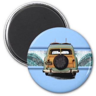 Magnet de vague de Woody Magnet Rond 8 Cm