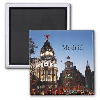 Magnet de voyage de scène de nuit de Madrid Espagn Magnet Carré