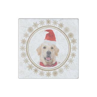 Magnet En Pierre Amoureux des chiens de casquette de Père Noël de