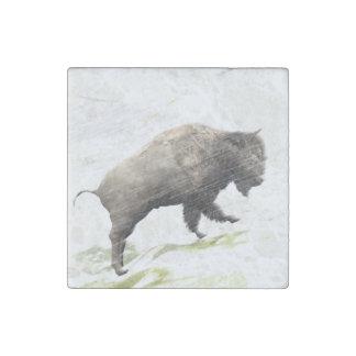 Magnet En Pierre Bison dans la tempête d'hiver