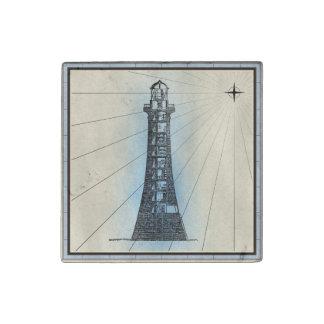 Magnet En Pierre Copie marine de phare noir avec le cadre bleu