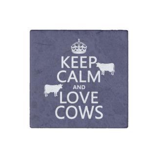 Magnet En Pierre Gardez le calme et aimez les vaches (toutes les