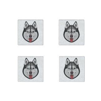Magnet En Pierre L'illustration poursuit le chien de traîneau