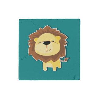 Magnet En Pierre Mâle heureux de lion de bande dessinée avec